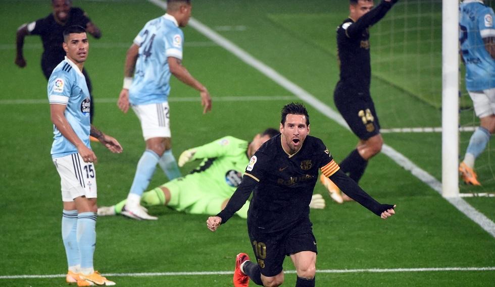 برشلونة ينجز مهمته في فيغو بعشرة لاعبين