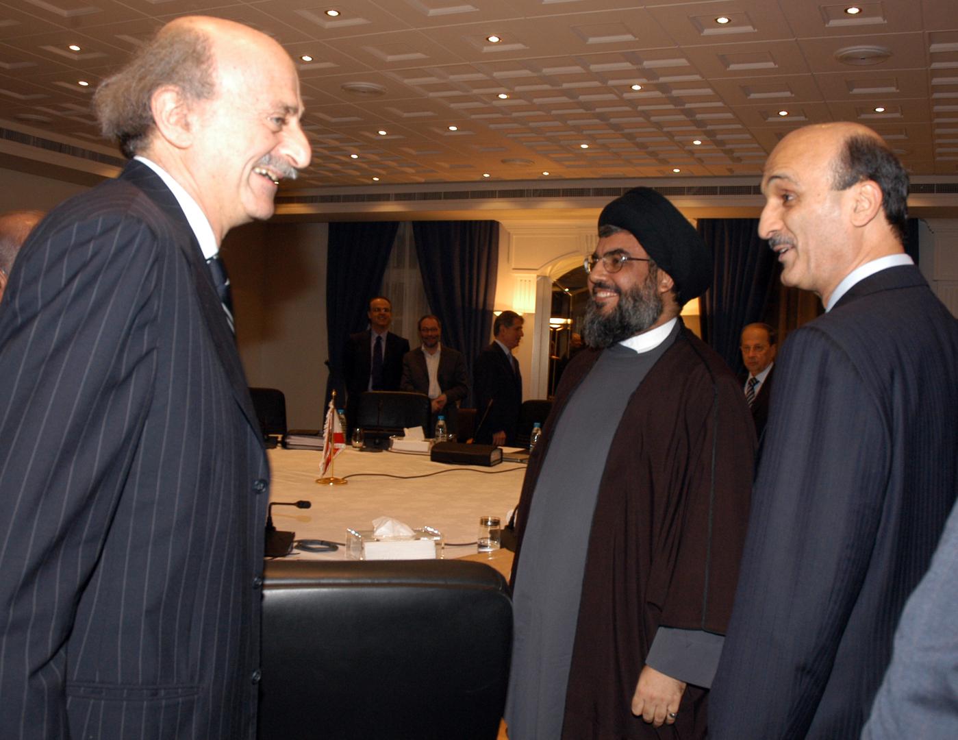 صورة تجمع جنبلاط وجعجع والأمين العام لحزب الله حسن نصرالله تعود للعام 2006.