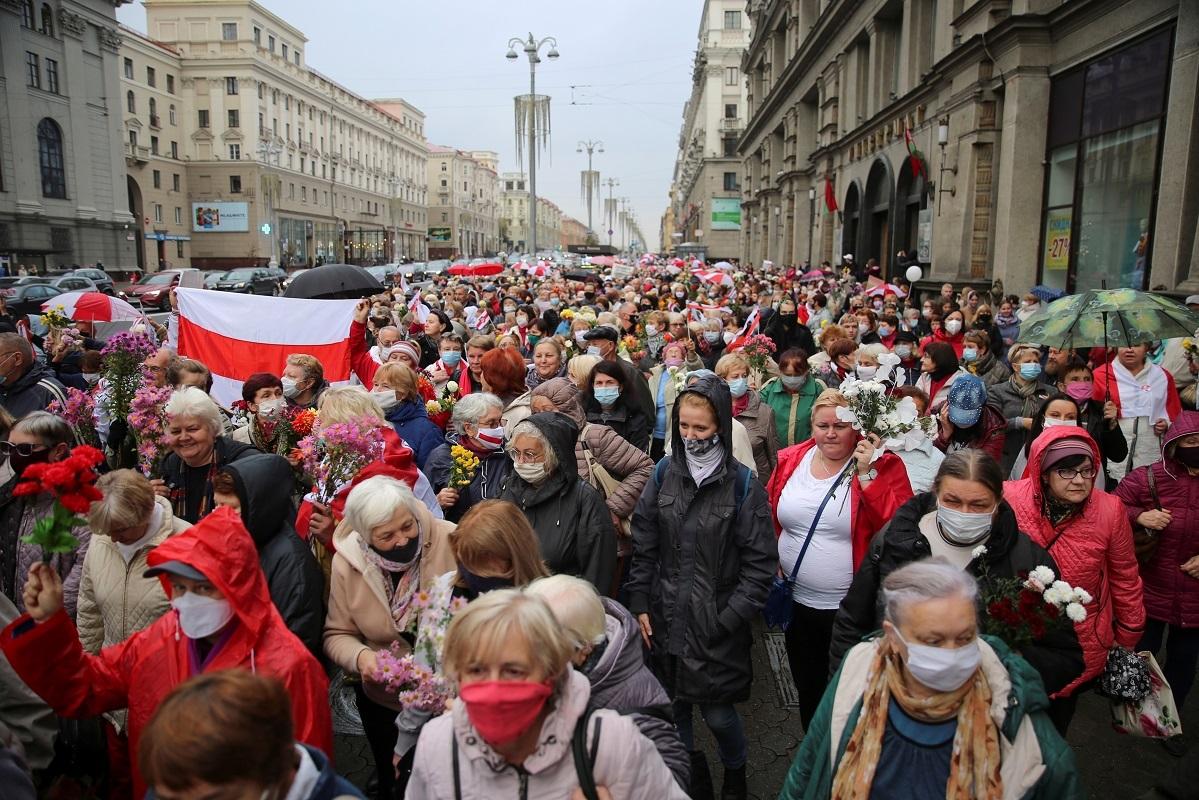 محتجون في العاصمة البيلاروسية مينسك