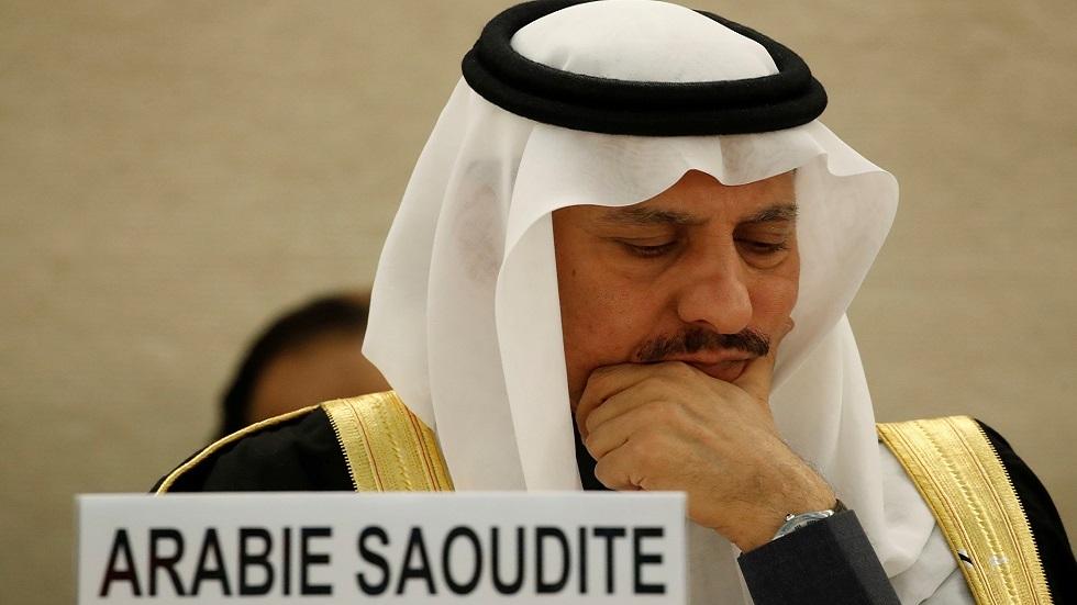 بندر العيبان، الرئيس السابق لهيئة حقوق الإنسان في السعودية، خلال جلسة لمجلس حقوق الإنسان الأممي في جنيف (صورة أرشيفية)