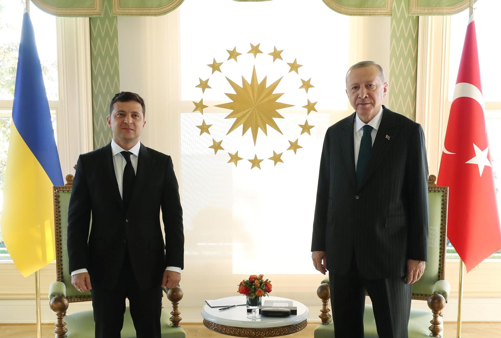 الرئيس التركي، رجب طيب أردوغان، ونظيره الأوكراني، فلاديمير زيلينسكي، خلال لقائهما في اسطنبول يوم 16 أكتوبر 2020.