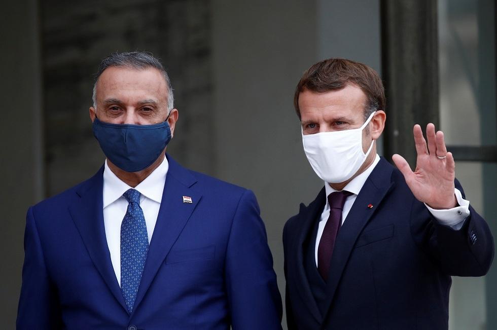 الرئيس الفرنسي إيمانويل ماكرون ورئيس الوزراء العراقي مصطفى الكاظمي