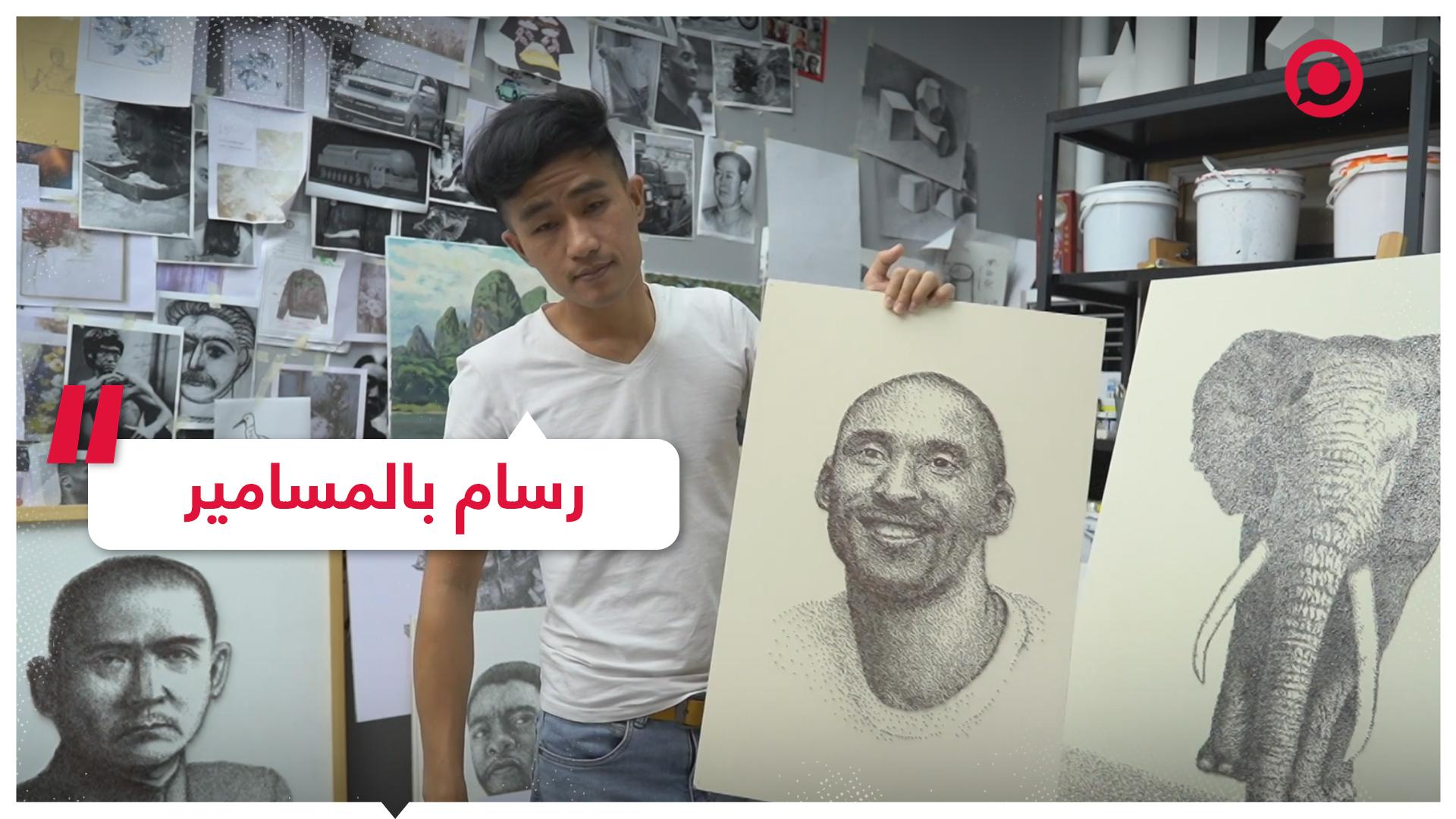 شاهد الفنان الصيني الذي يرسم لوحاته بالمسامير!