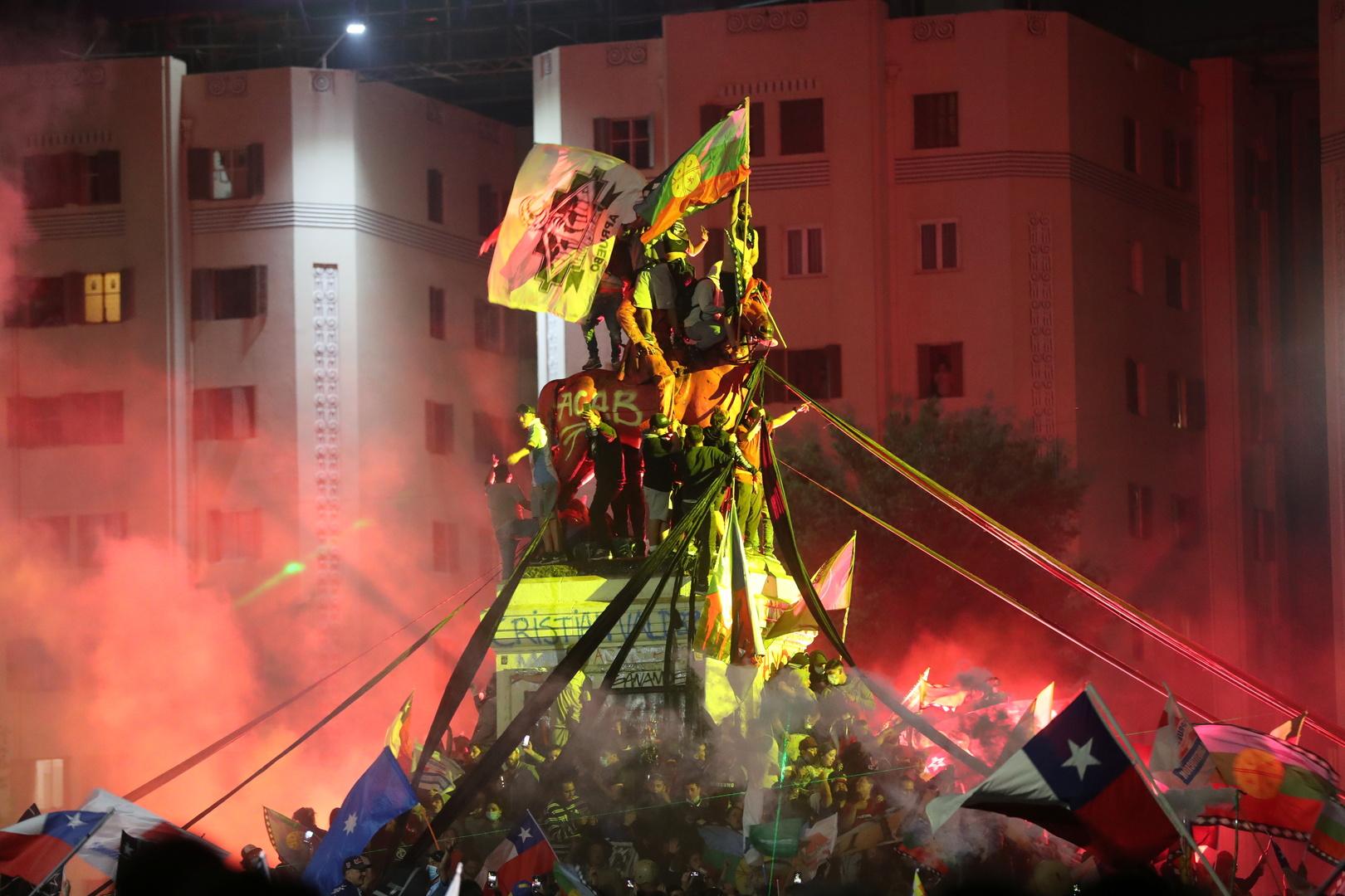 احتفال المتظاهرين في تشيلي