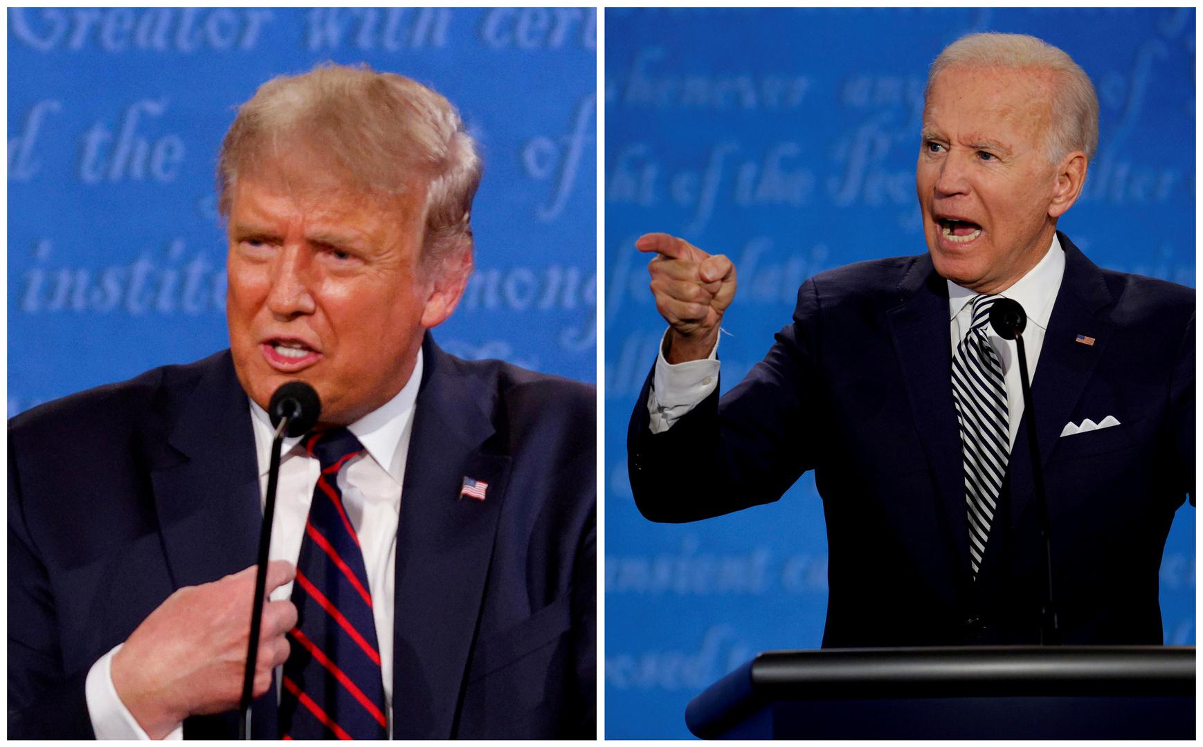 المرشح الديمقراطي للرئاسة الأمريكية، جو بايدن، ومنافسه الجمهوري، الرئيس الحالي، دونالد ترامب.