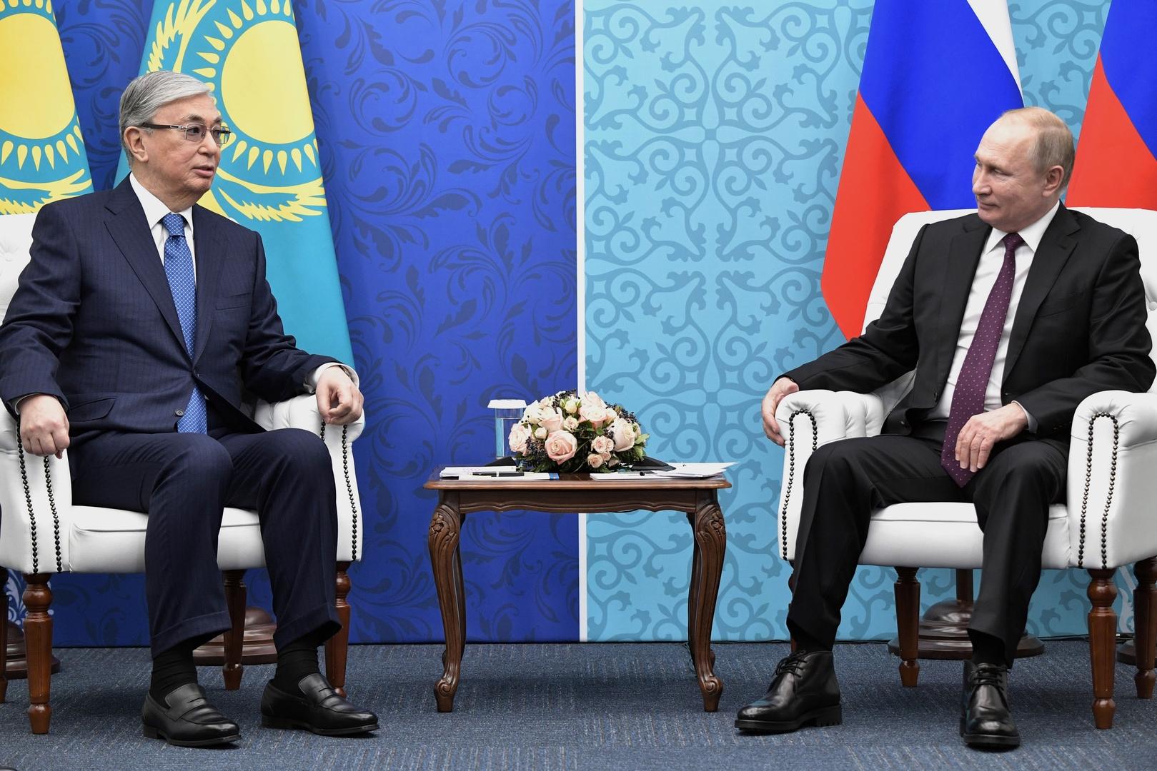 الرئيس الروسي، فلاديمير بوتين، ونظيره الكازاخي، قاسم-جومارت توكاييف - صورة أرشيفية