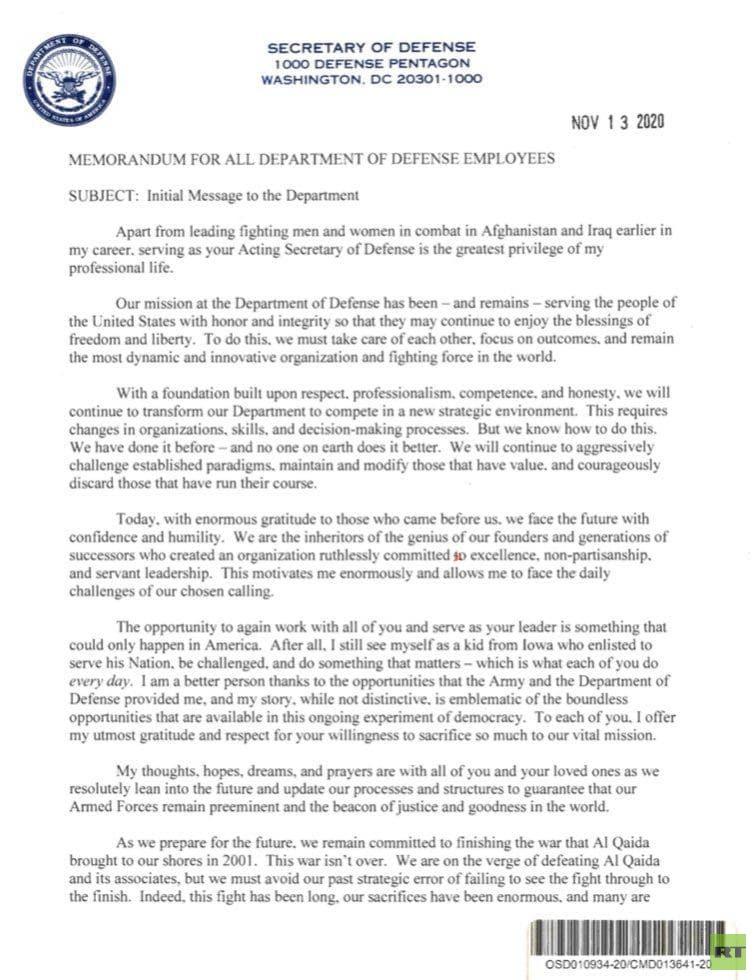 وزير الدفاع الأمريكي بالوكالة يوجه رسالة للقوات الأمريكية: