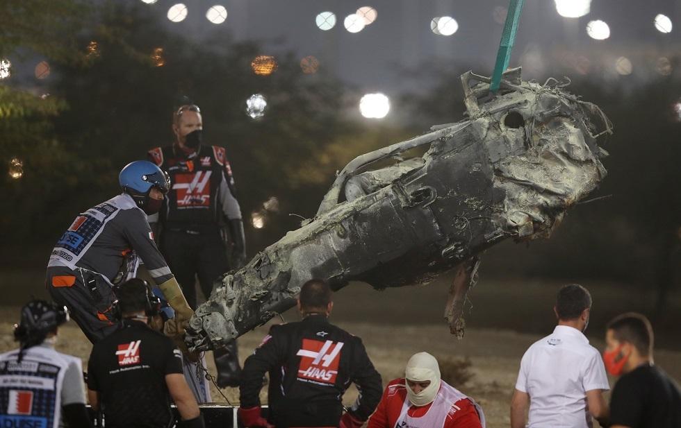 حادث مروع لغروجان يتسبب في توقف سباق البحرين (فيديو)