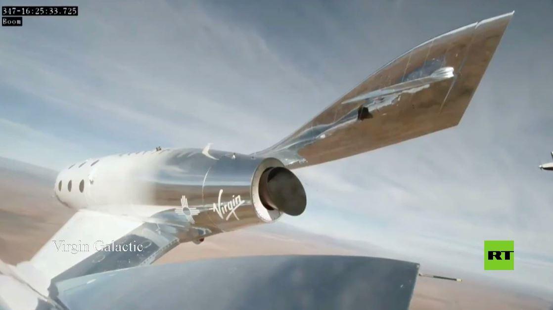 بالفيديو.. طائرة فضائية تابعة لـVirgin Galactic تقطع رحلتها المأهولة