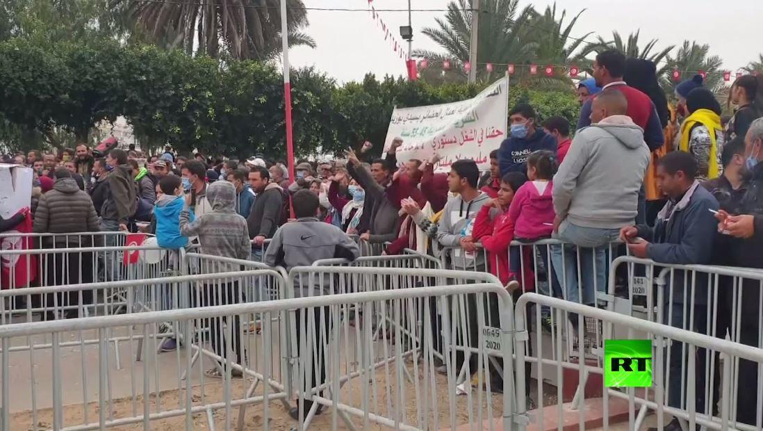 مظاهرة في سيدي بوزيد في يوم أحياء ذكرى محمد البوعزيزي وبدء الثورات العربية