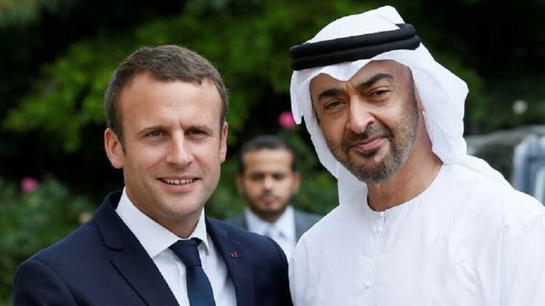 ولي عهد أبو ظبي محمد بن زايد آل نهيان، والرئيس الفرنسي إيمانويل ماكرون
