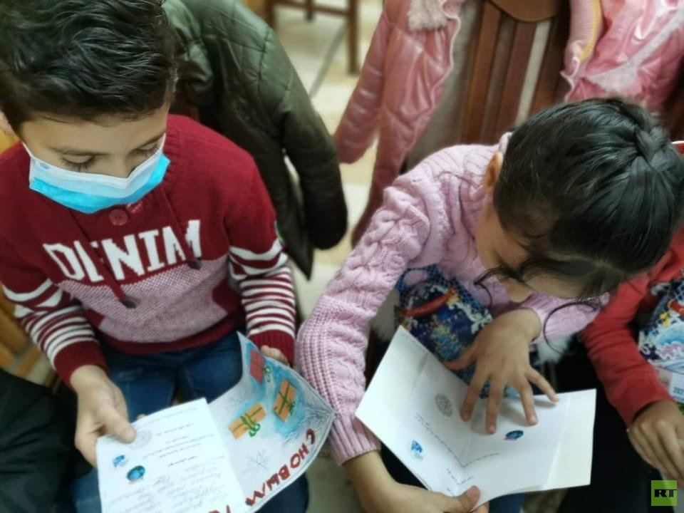 Restore the New Year .. Russian children send greeting cards to Syrian children