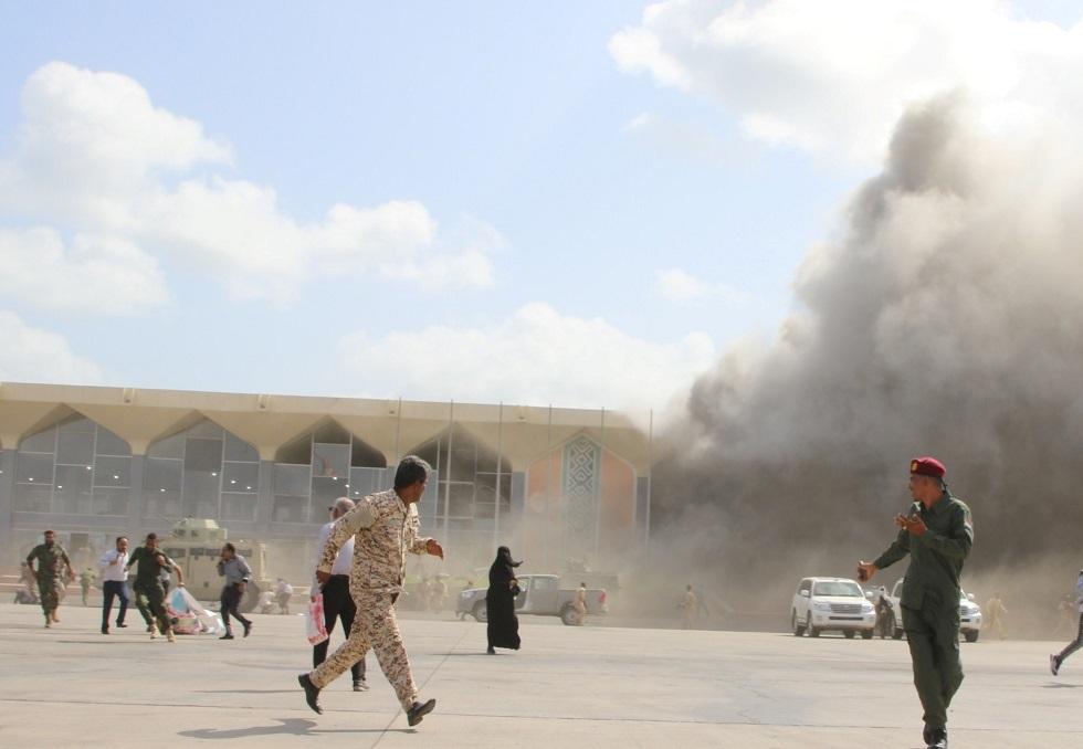 استهداف مطار عدن في اليمن