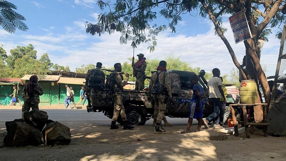 عناصر من القوات الحكومية الأثيوبية قرب حدود إقليم تيغراي (صورة أرشيفية)