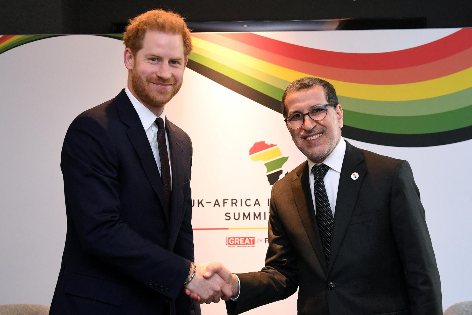 الوزير الأول المغربي سعد الدين العثماني والأمير هاري في لندن بداية العام الماضي.