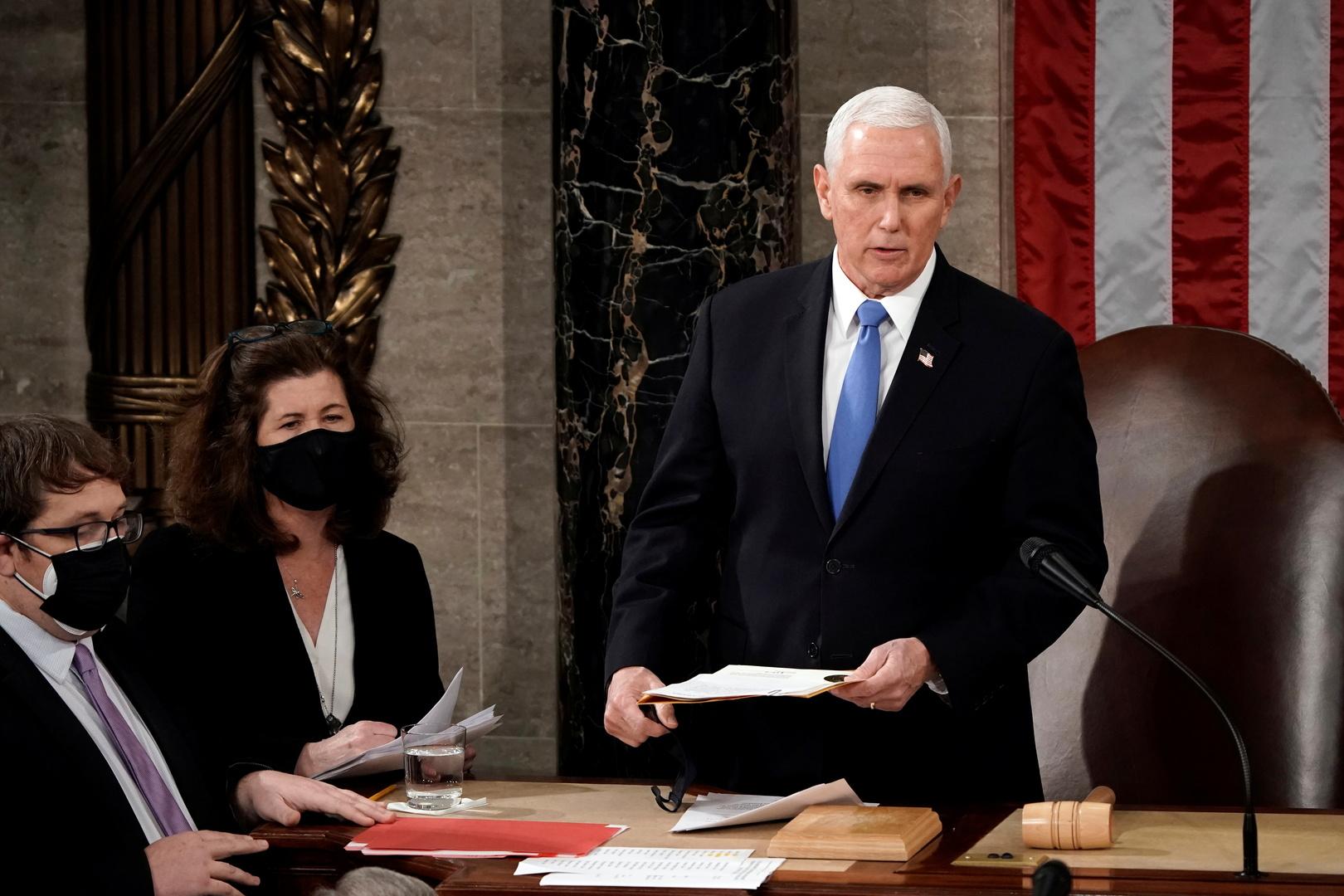 بينس يشكر عناصر الشرطة لحمايتهم اجتماع الكونغرس