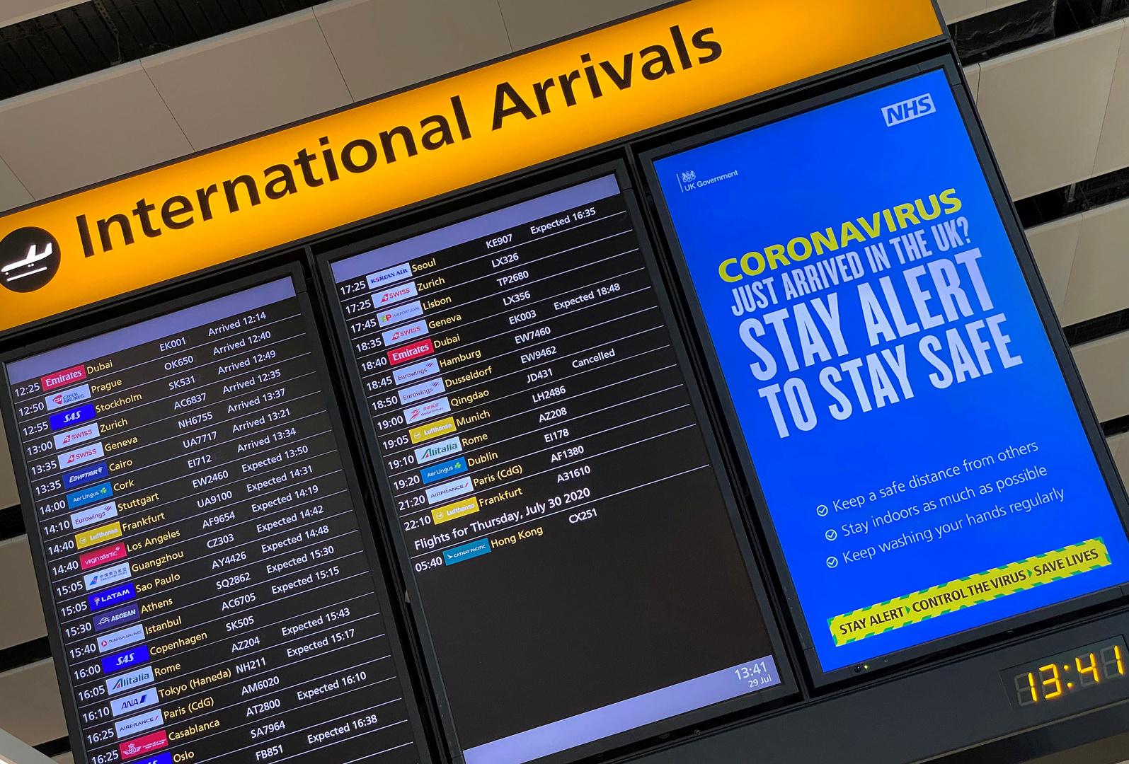 روسيا تمدد حظر الطيران مع المملكة المتحدة