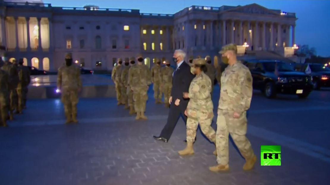 بالفيديو .. مايك بنس يرحب بقوات الحرس الوطني الأمريكي أمام الكابيتول