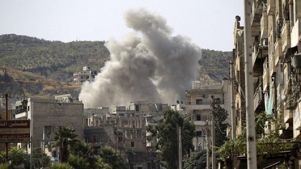 آثار قصف في ريف إدلب بسوريا - أرشيف