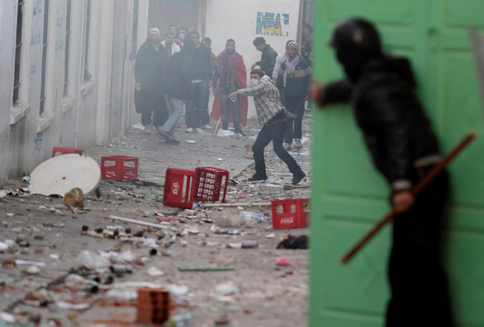 اشتباكات بين قوات الأمن ومتظاهرين في العاصمة تونس. الصورة: أرشيف.