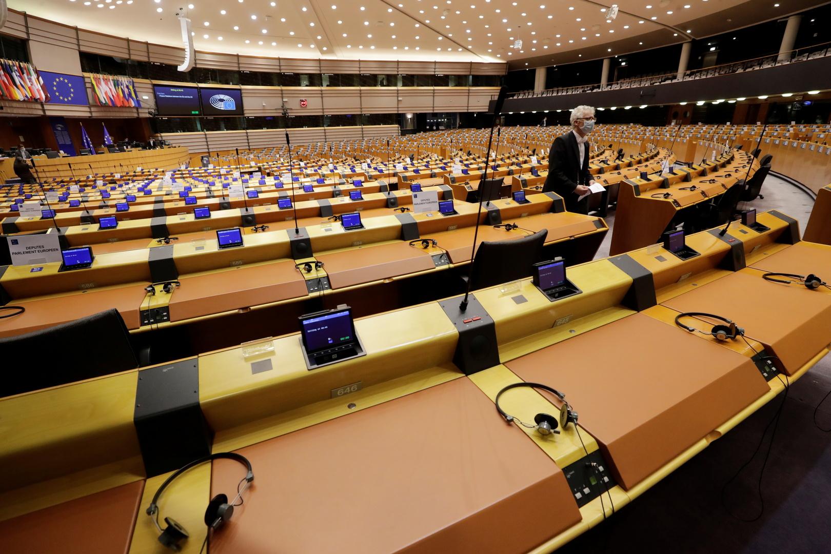 قاعة المداولات في البرلمان الاوروبي في بروكسل.
