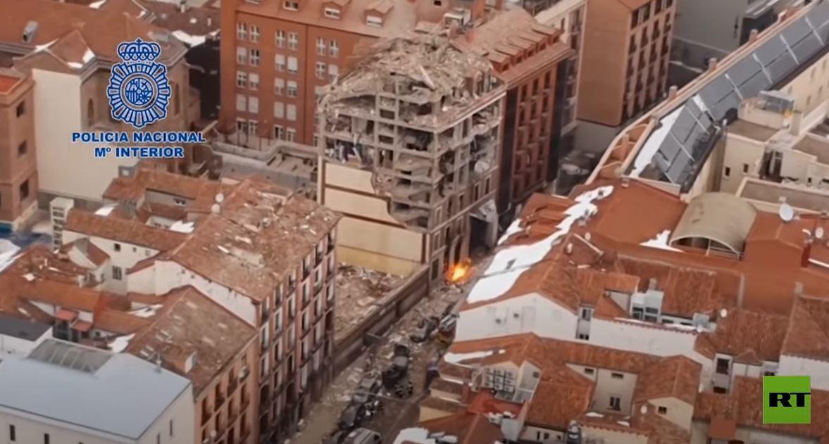 لقطات جوية توثق آثار انفجار مدريد العنيف