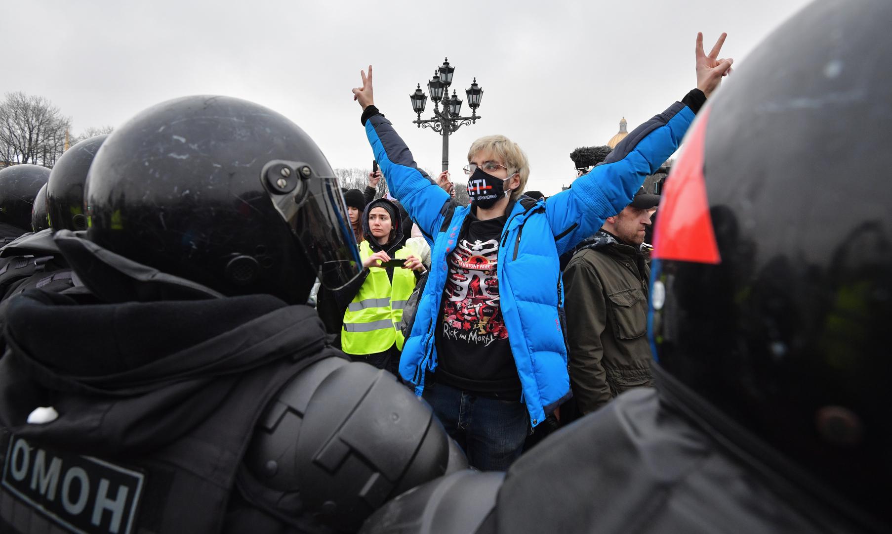 تحقيقات جنائية في أعمال عنف وشغب خلال مظاهرات أنصار نافالني في روسيا