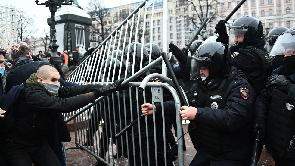 جانب من احتجاجات السبت 23 يناير 2021 في العاصمة الروسية موسكو