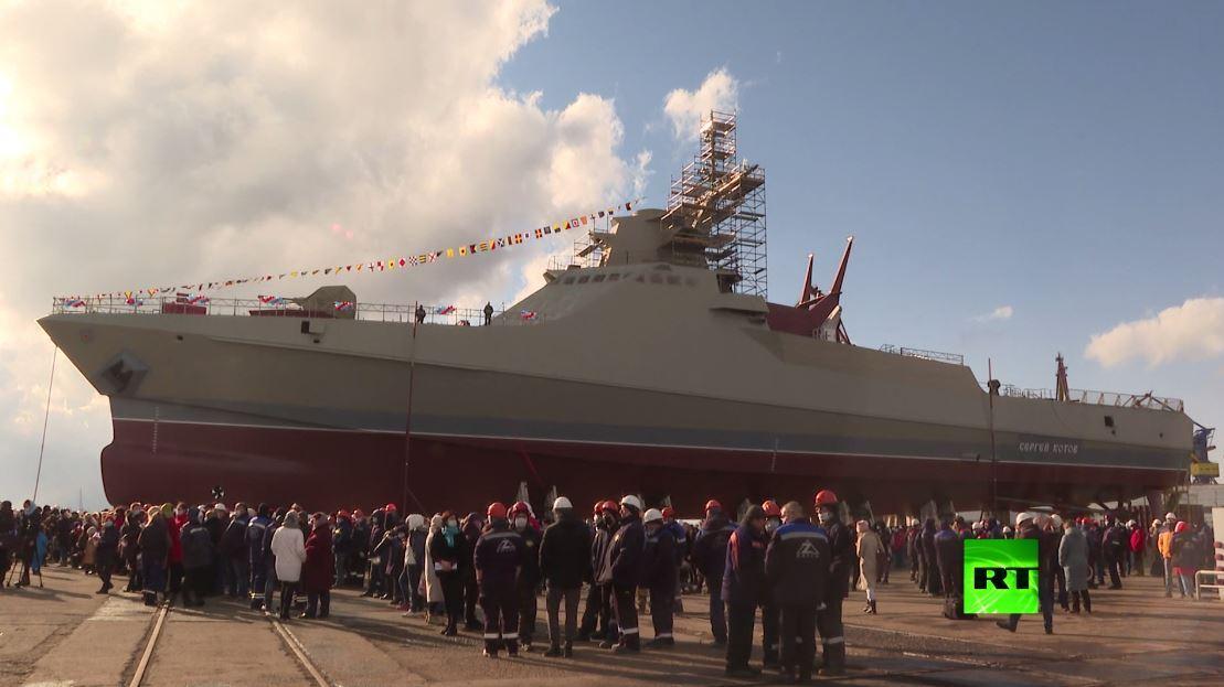 تدشين سفينة حربية روسية جديدة في ميناء كيرتش بشبه جزيرة القرم