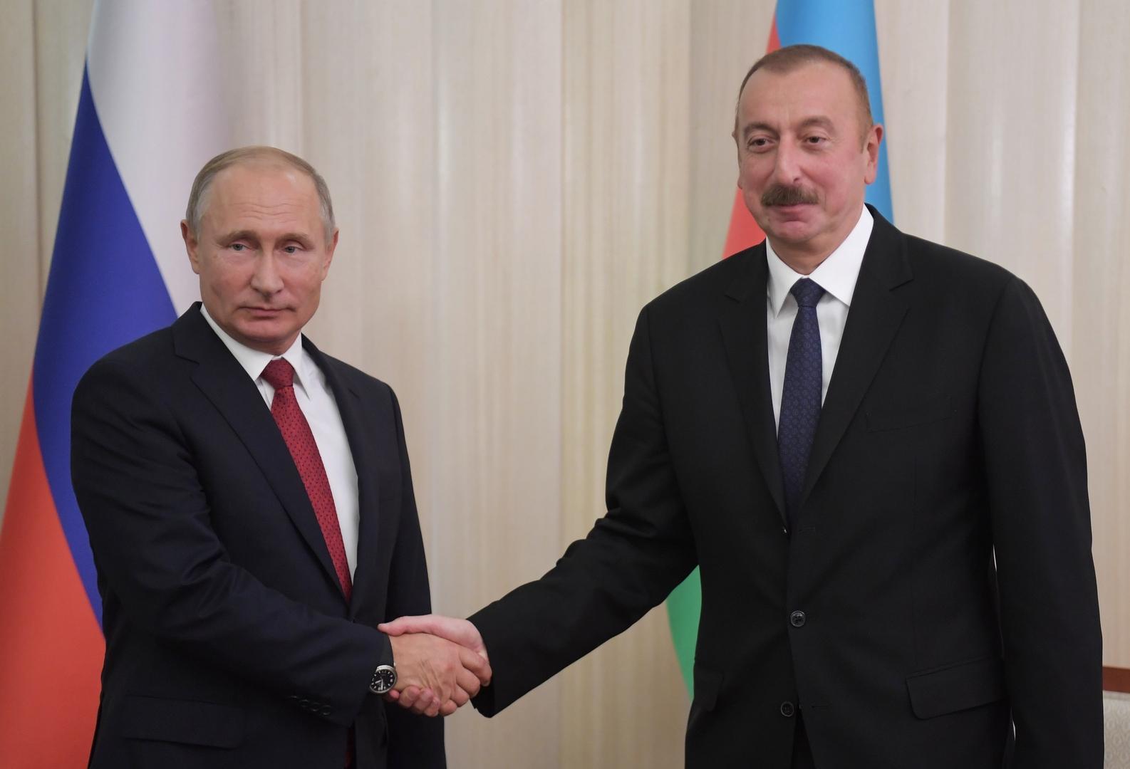 الرئيسان الروسي، فلاديمير بوتين، والأذربيجاني، إلهام علييف
