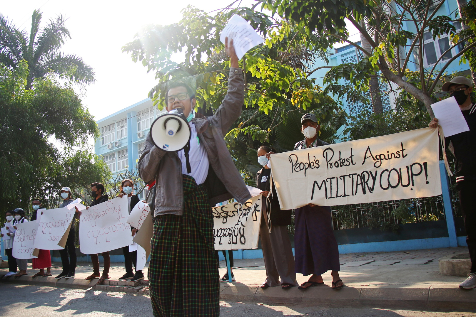 Anti-coup protest in the streets of Myanmar's second largest city
