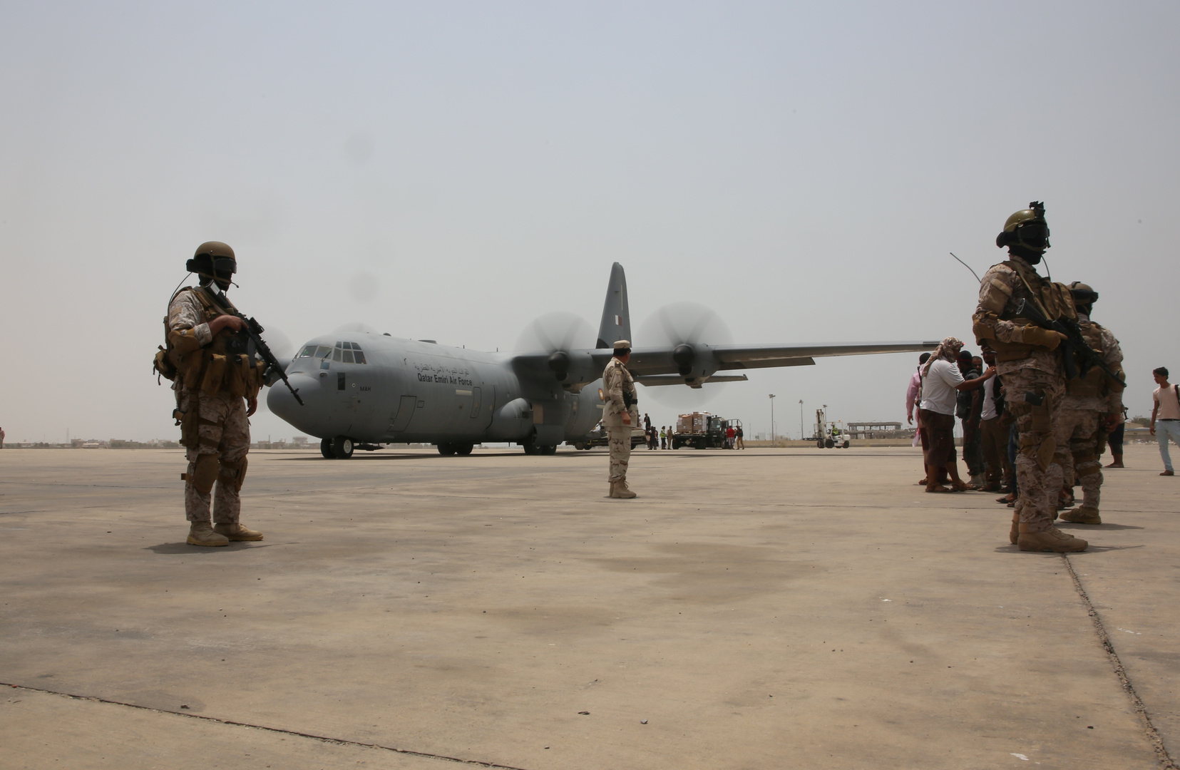 عسكريون إماراتيون في مدينة عدن اليمنية.