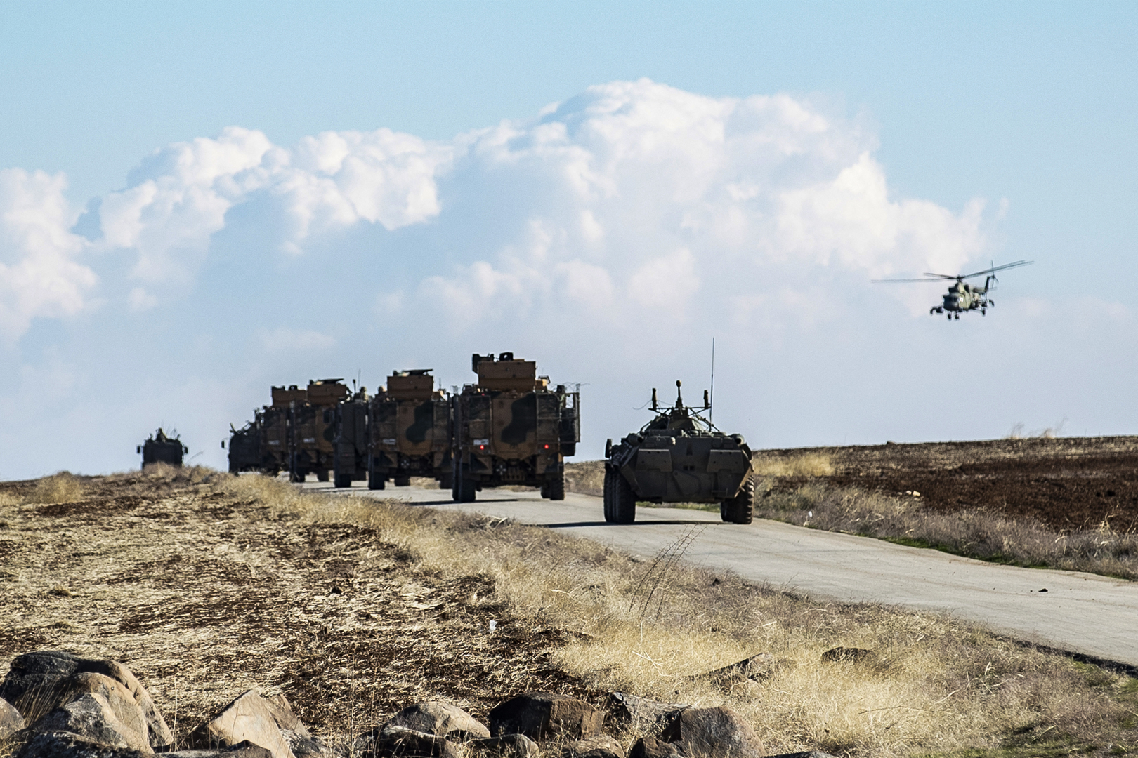 Joint exercises for the Russian and Turkish soldiers in Idlib, Syria