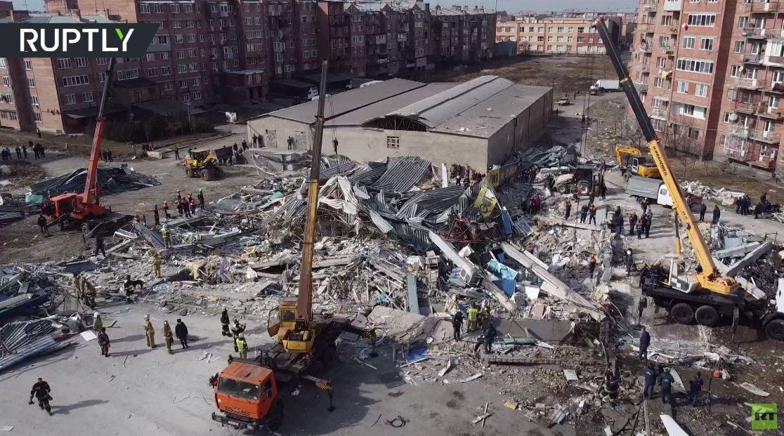 تصوير جوي لآثار انفجار كبير هز مركزا تجاريا في فلاديقوقاز الروسية