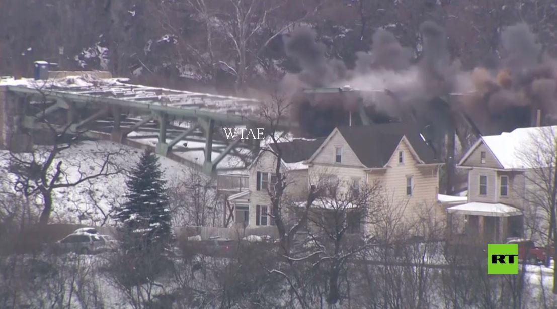 بالفيديو.. تفجير موجه لهدم جسر في بنسلفانيا