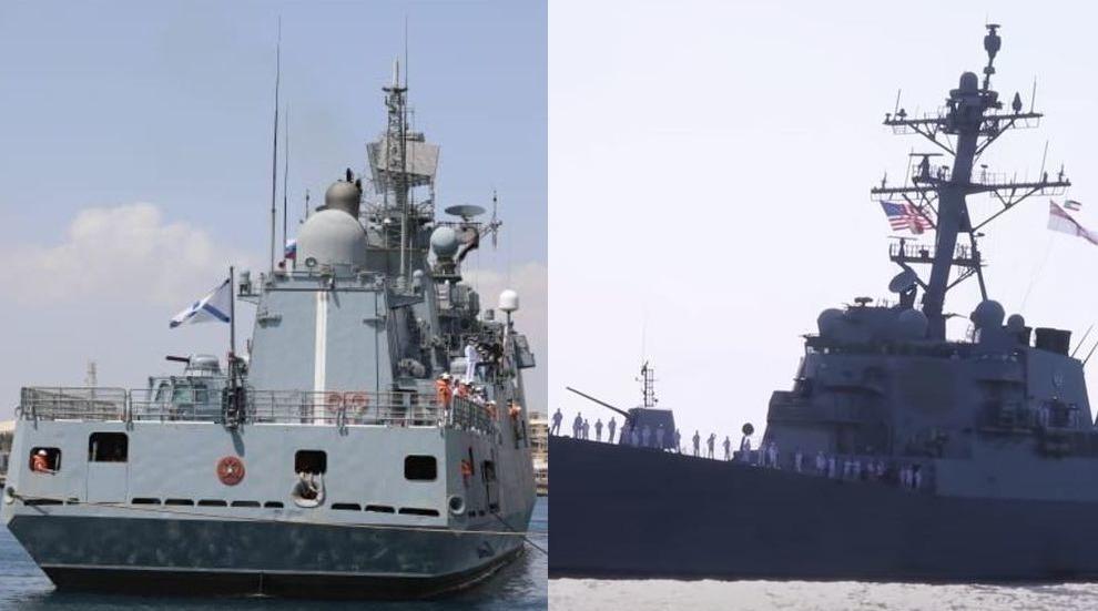 حادثة لا تتكرر كثيرا.. سفينة حربية روسية ومدمرة أمريكية في ميناء عربي (فيديو)