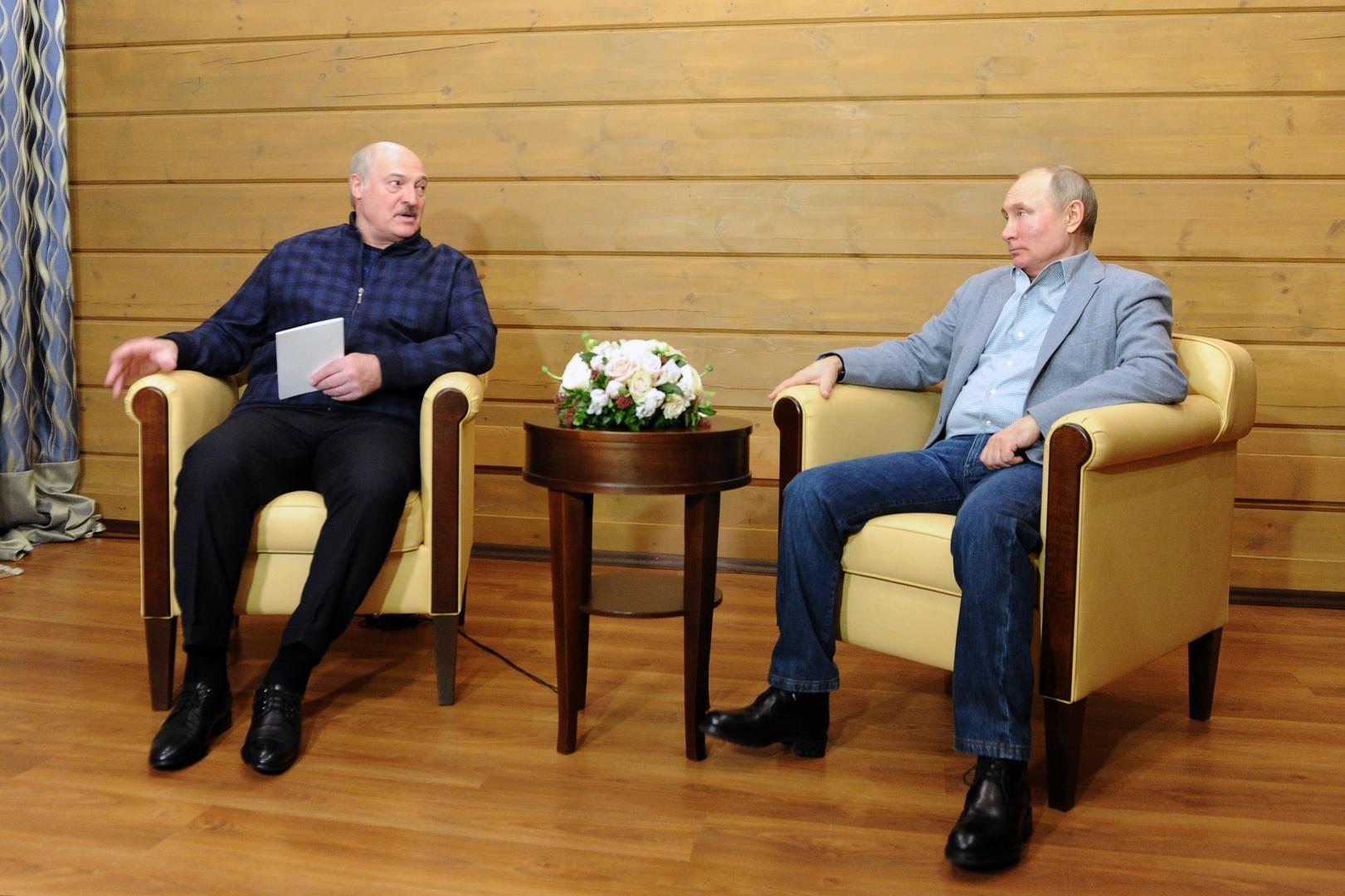 الرئيسان الروسي فلاديمير بوتين والبيلاروسي ألكسندر لوكاشينكوف، سوتشي، روسيا، 22 فبراير 2021