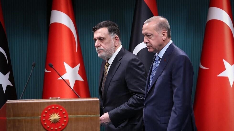 الرئيس التركي رجب طيب أردوغان و رئيس المجلس الرئاسي لحكومة الوفاق الوطني الليبية فائز السراج