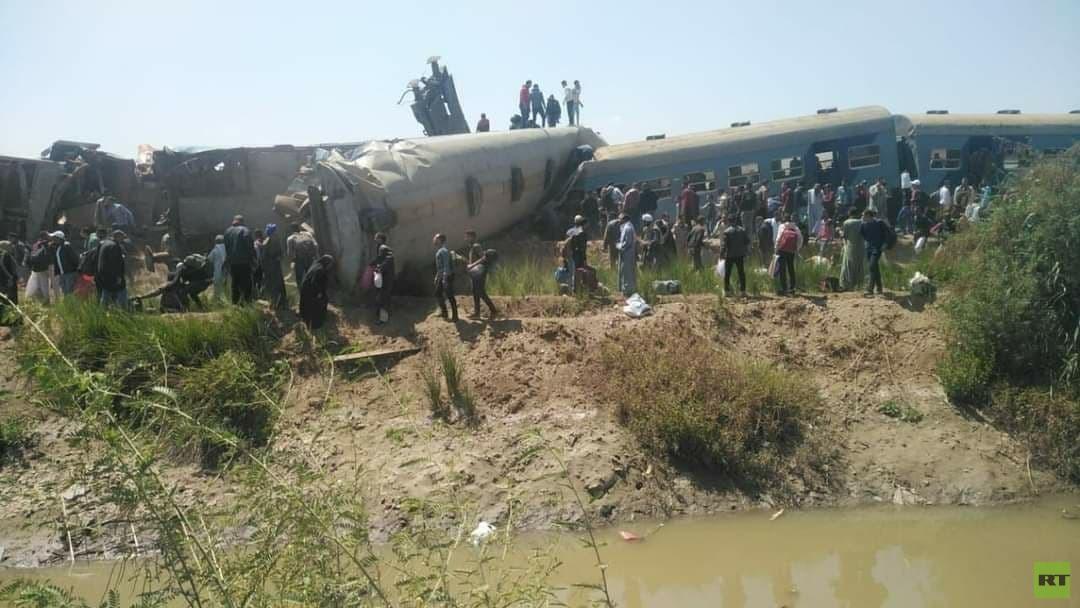 اصطدام قطارين في مصر
