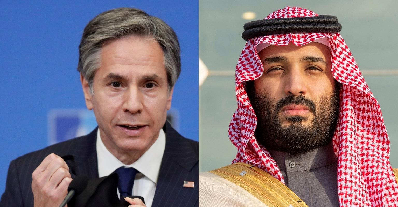 وزير الخارجية الأمريكي  أنتوني بلينكن، وولي العهد السعودي الأمير محمد بن سلمان