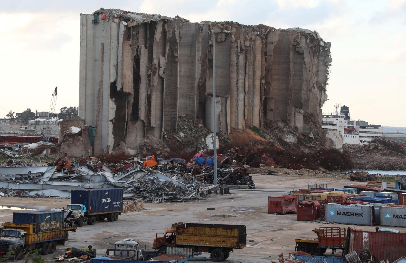إهراءات الحبوب المتضررة من انفجار مرفأ بيروت
