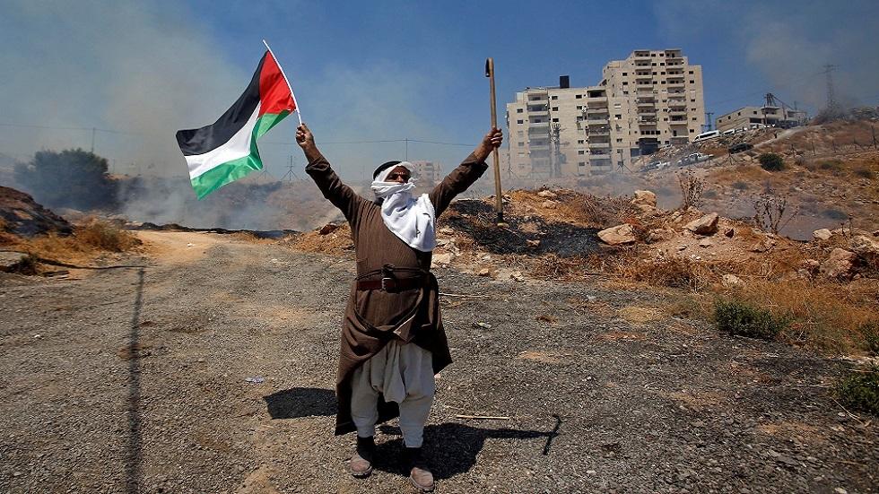 مظاهرة ضد الاستيطان وطرد السكان في حي الشيخ جراح بالقدس