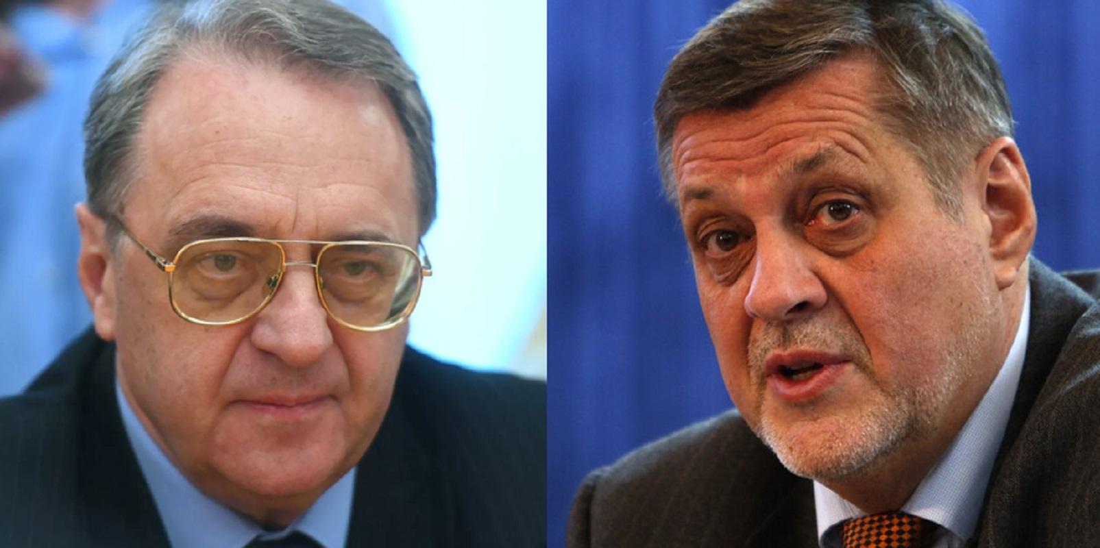 ميخائيل بوغدانوف، المبعوث الخاص للرئيس الروسي إلى الشرق الأوسط وشمال إفريقيا (يسار)، ويان كوبيش، رئيس بعثة الأمم المتحدة للدعم في ليبيا