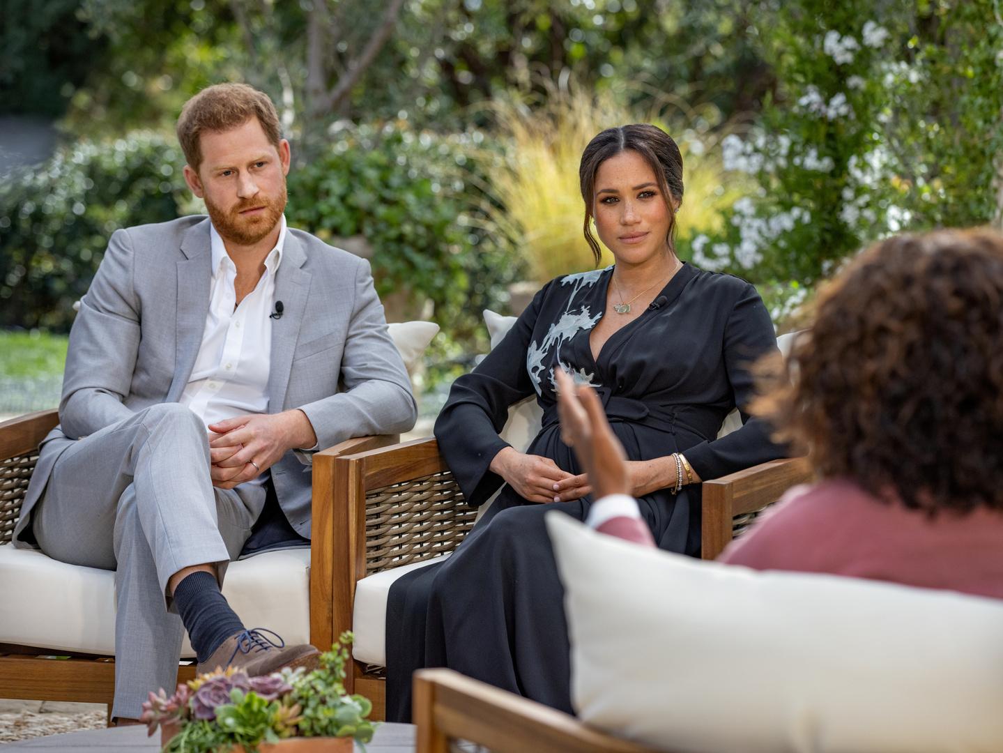 الأمير هاري وزوجته ميغان ماركل خلال مقابلتهما الأخيرة مع أوبرا وينفري