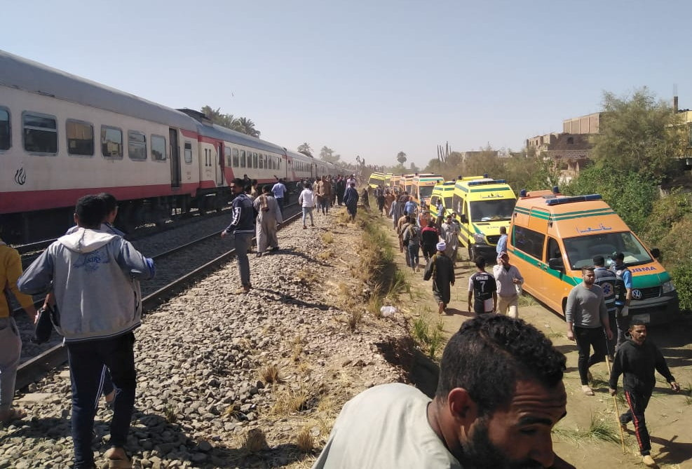 موقع حادث قطاري سوهاج بمصر