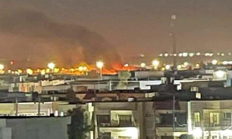 أولى الصور بعد القصف الذي استهدف مطار أربيل الدولي بكردستان العراق