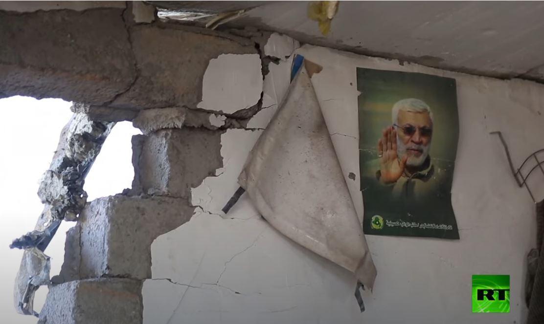 آثار القصف الصاروخي على مقر الحشد الشعبي شمال العراق