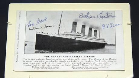 """عرض بطاقة بريدية من """"تيتانيك"""" للبيع في المزاد"""