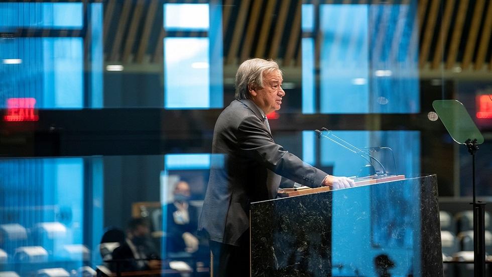 الأمين العام للأمم المتحدة، أنطونيو غوتيريش يلقى كلمة أمام الدورة الـ75 للجمعية العامة للأمم المتحدة في سبتمبر 2020