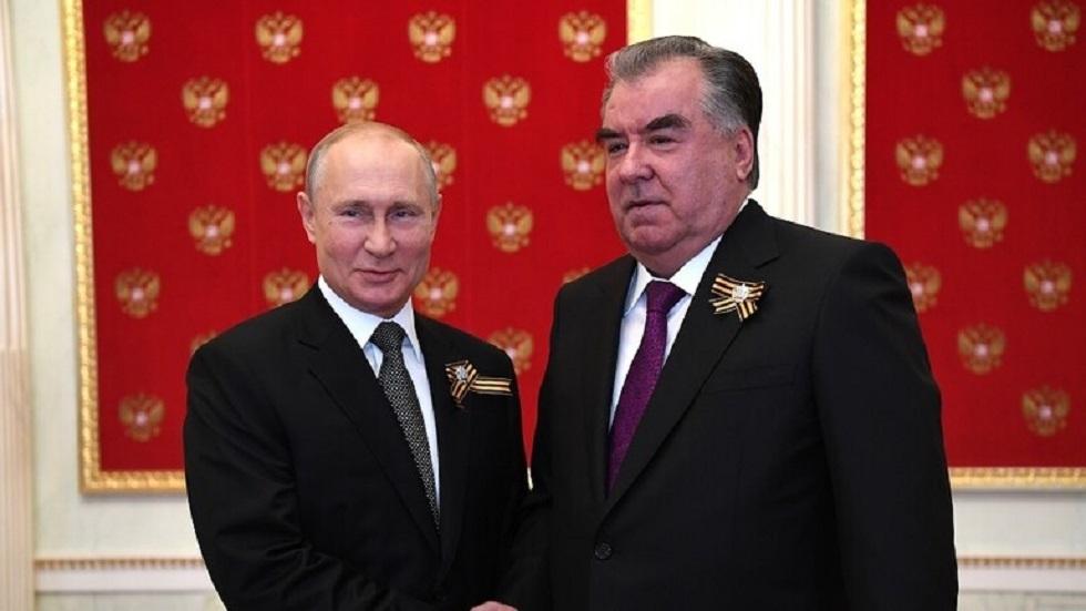 الرئيسان الروسي فلاديمير بوتين والطاجيكي إمام علي رحمون - أرشيف